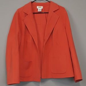 Talbots orange wool plus size blazer size 14W